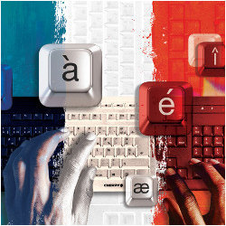hands typing on AZERTY keyboard on blue, white, and red background, illustration
