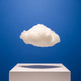 cloud floats above a physical platform, illustration