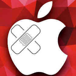 The Apple logo sporting bandages.