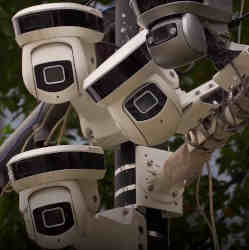 A cluster of surveillance cameras in Singapore.
