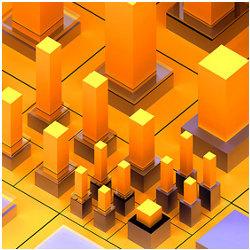 3D figures on a grid, illustration