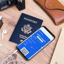 An actual U.S. passport (left) and the CommonPass app, which was designed to look like a boarding pass.