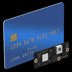 Intels RealSense facial authentication module, shown for comparison purposes next to a credit card.