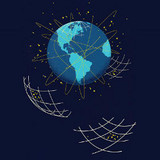 globe and data nets, illustration