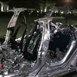 The remains of a Tesla vehicle after it burned for four hours.