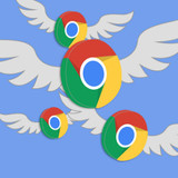 Google logos with white wings