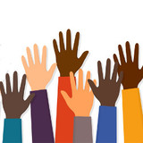 raised hands of people with different skin colors, illustration